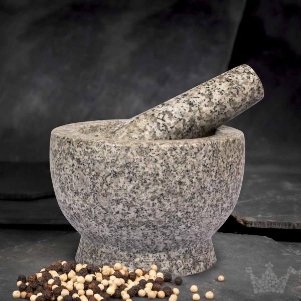 Mörser aus Granit mit Stößel, 2,6 kg, weiß-grau
