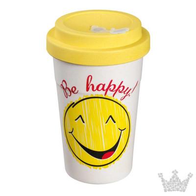 Eco Coffee To Go Becher, Be Happy, Zassenhaus