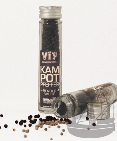 Kampot Pfeffer VIP schwarz & weiß, ganz, im Glas