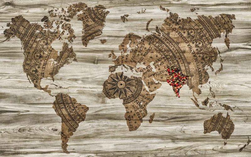 Weltkarte Pfeffer Indien Bremer Gewuerzhandel