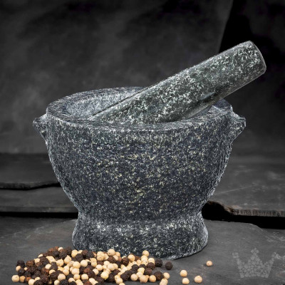Granit-Mörser & Stößel David, 2,6 kg, schwarz-grau