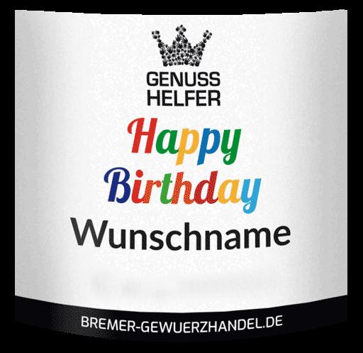 happy birthday etikett beispiel