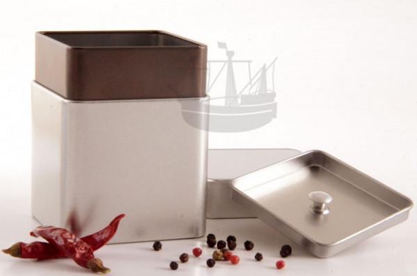 Vorratsdose mit Aromaverschluss, 80 x 80 x 98 mm, silbermatt