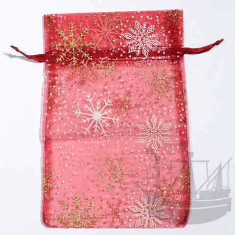 Organzabeutel, Weihnachten, 20x13 cm, bordeaux