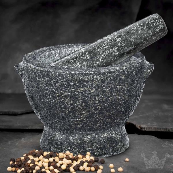Granit-Mörser & Stößel Cilio Goliath, 5,5 kg, schwarz-grau