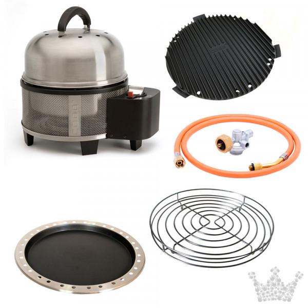 COBB Grill Gas Deluxe Set 4 inkl. Deckel, Griddle, Pfanne, Bratenrost hoch &Gasadapter