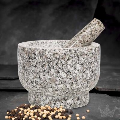 Granit-Mörser & Stößel, 5,5 kg, weiß-grau