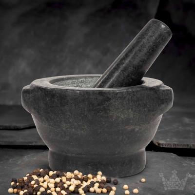 Granit-Mörser & Stößel, 2,6 kg, schwarz-grau