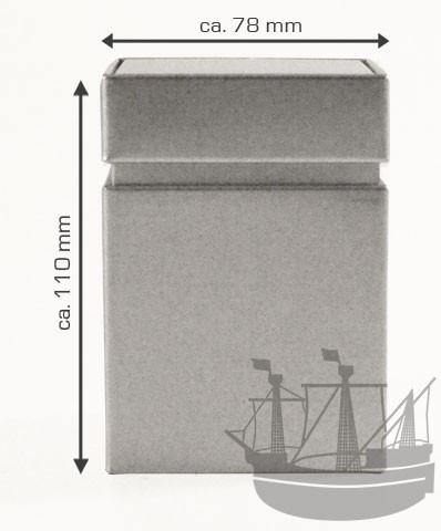 Stülpdeckeldose, 78 x 78 x 110 mm, silber