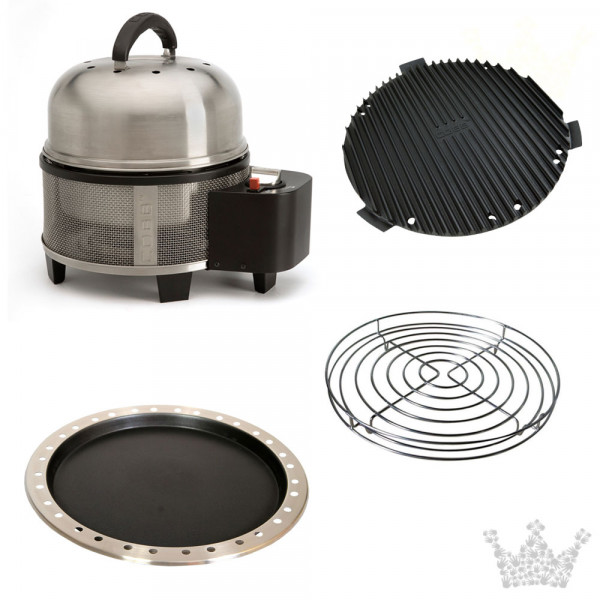 COBB Grill Gas Deluxe Set 3 inkl. Deckel, Griddle, Pfanne & Bratenrost hoch
