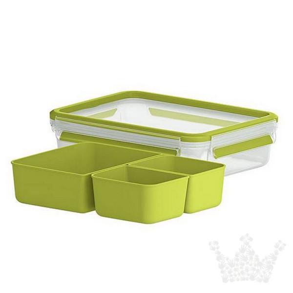 Emsa Clip & Go Snackbox, 1,2 l, mit drei Einsätzen