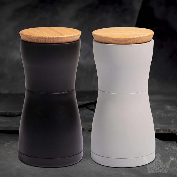 AdHoc Twin, 13,3 cm, Pfeffer- & Salzmühlen-Set, schwarz und weiß