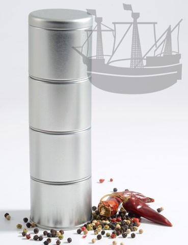 Gewürzdosen mit Stülpdeckel, 4er Set, stapelbar, rund, 59x197 mm
