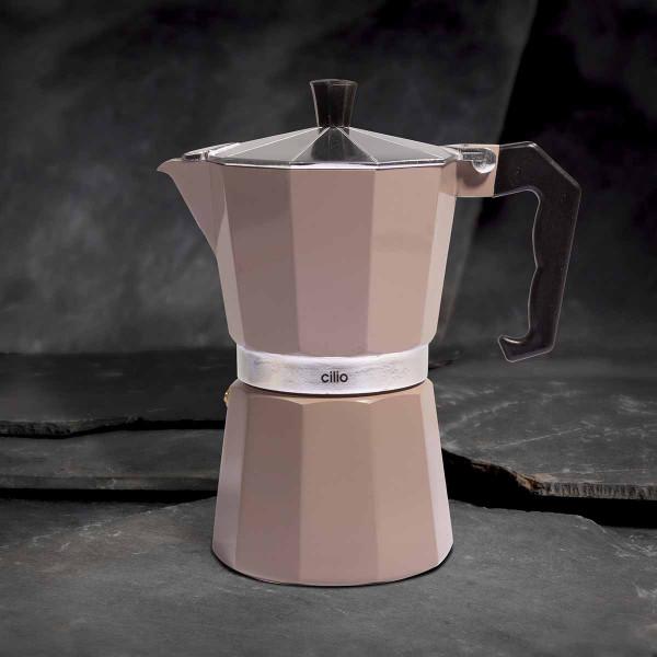 Cilio Espressokocher Classico, 6 Tassen, taupe