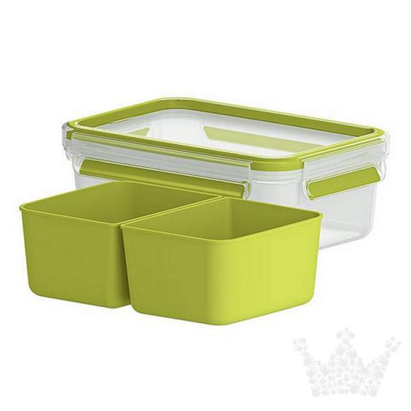 Emsa Clip & Go Snackbox, 1,0 l, mit zwei Einsätzen