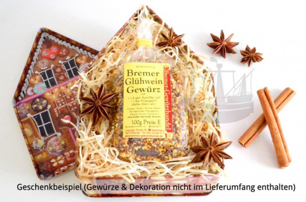 Geschenkdose, Keksdose Lebkuchenhaus, 180 x 120 x 58 mm