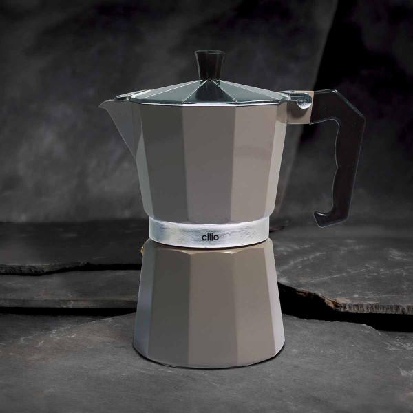 Cilio Espressokocher Classico, 6 Tassen, cool grey