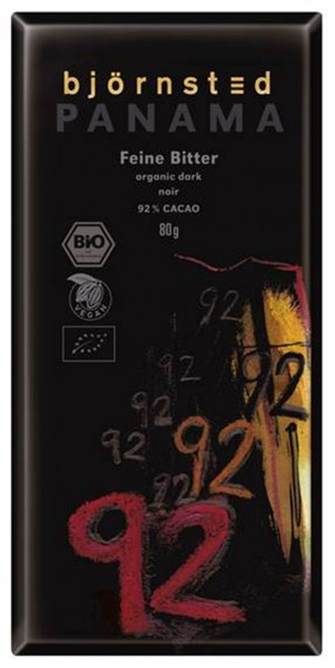 Björnsted Panama Dark 92% Feine Bitter Schokolade